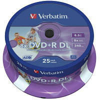 Диск DVD Verbatim 8.5Gb 8X CakeBox 25шт Printable (43667)