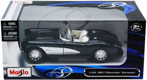 Автомодель (1:24) 1957 Chevrolet Corvette 31275 black, фото 2
