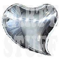 Фольгированный шар Сердце серебро, 44 см