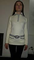Свитер женский с карманами и декоративным поясом. Оптом.
