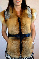 Жіночий жилет з хутра рудої лисиці., фото 1