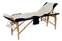 Массажный стол  трехсегменнтный деревянный двухцветный