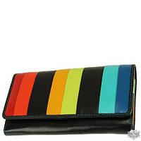 Женский кожаный кошелек Visconti Santorini STR-4 BLK MULTI с защитой RFID