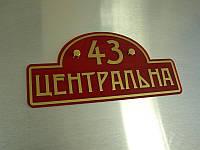 Адресная табличка на дом, 500х250 мм (Основание: Акрил металлик или перламутр;  Объемные элементы : Без, фото 1