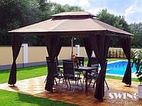 Павильон Swing & harmonie 3 х 4 м Коричневый с LED подсветкой от солнечной батареи