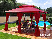 Павильон Swing & harmonie 3 х 4 м красный с LED подсветкой от солнечной батареи