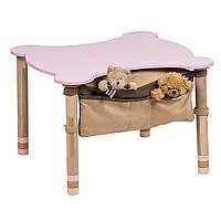 Стол фигурный с карманом цветная столешница  Розовый IndigoWood (32268)