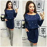 Стильное платье,ткань меланж,арт (804) цвет синий, фото 1