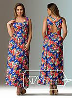Платье больших размеров  48+ длинное, принт цветы  рт 165-23/92