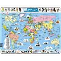 Пазл Политическая карта мира (на украинском  языке) Larsen (K1-UA)