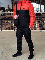 Анорак + Штаны + Подарок, ЗИМНИЙ спортивный костюм / черно-оранжевый!