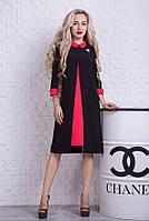Женское деловое черно-красное платье