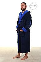 Модный мужской махровый халат софт синего цвета BMW, фото 1