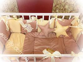 Комплект детского постельного белья 6 в 1 с подушками звездами и вышивкой Дельфин