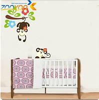 """Наклейка на стену, виниловые наклейки, украшения стены наклейки """"милые обезьяны, играющие на деревьях"""" ZooYoo"""