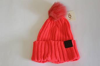 Женская шапка Угг с отворотом