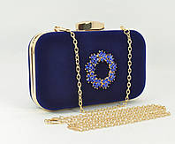 Велюровый клатч Rose Heart 7060-1 синий, сумочка на цепочке