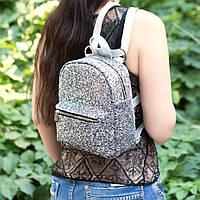 Модный молодежный рюкзак из блестящего текстиля . Рюкзак 91838