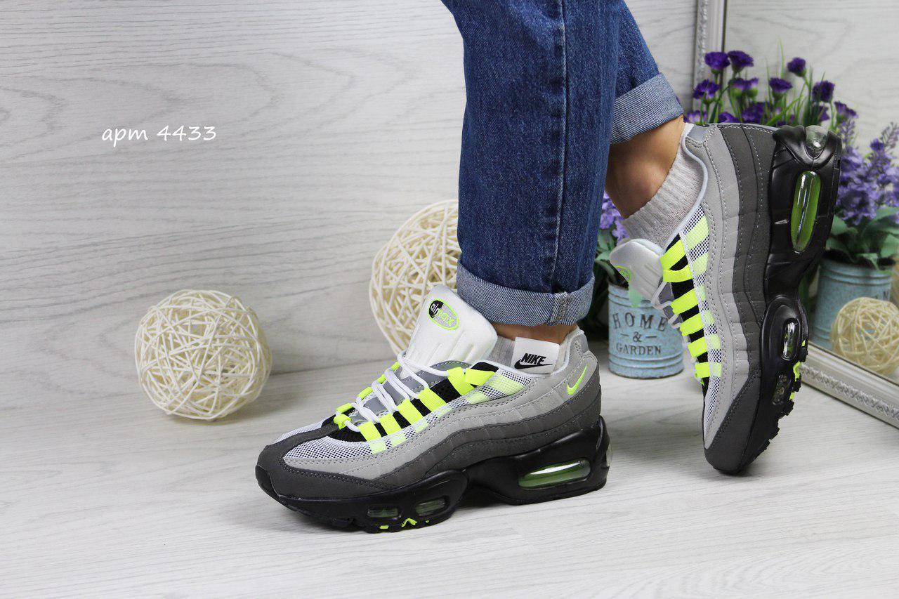 Кроссовки подростковые Nike air max 95 серые с салатовым