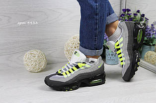 Кросівки підліткові Nike air max 95 сірі з салатовим 37,38 р