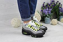 Кроссовки подростковые Nike air max 95 серые с салатовым, фото 2