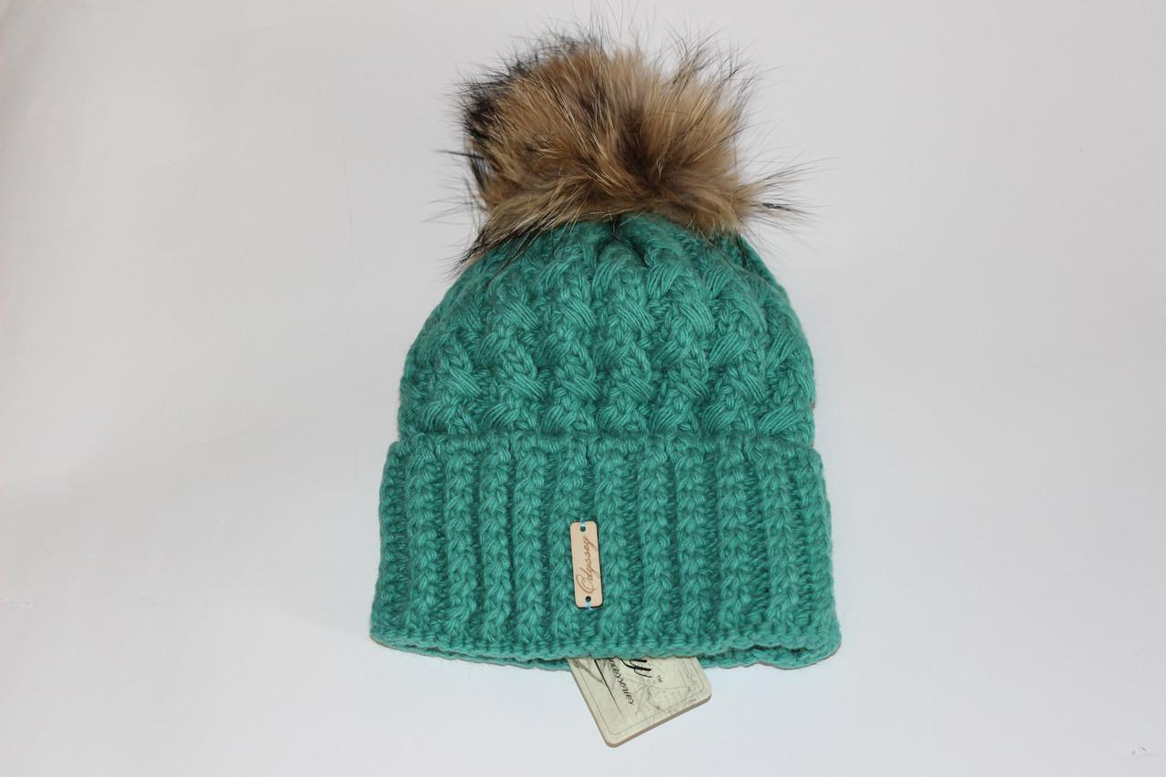 женская вязаная шапка с помпоном зеленая продажа цена в харькове