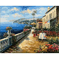"""VP863 Картина по номерам """"Кафе с видом на море"""", 40*50 см, Babylon Turbo"""