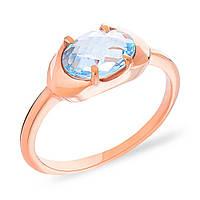 Лаконичное и стильное кольцо из золота 585 пробы. Это кольцо со вставкой из голубого топаза может стать не просто украшением, а и прекрасным напоминан