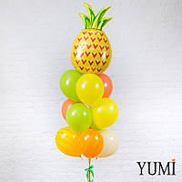 Композиция из шара Ананас, 3 киви, 2 жёлтых, 3 оранжевых, 1 айвори и 2 шаров жёлтый агат