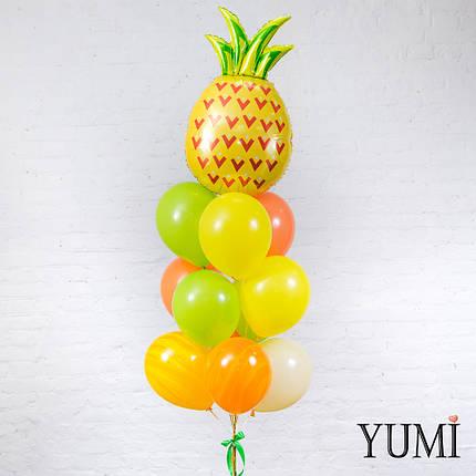 Композиция из шара Ананас, 3 киви, 2 жёлтых, 3 оранжевых, 1 айвори и 2 шаров жёлтый агат, фото 2