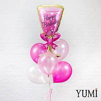 Композиция из шара Бокал шампанского, 2 серебряных, 2 розовых перламутровых и 2 шаров фуксия мексикан пинк мет