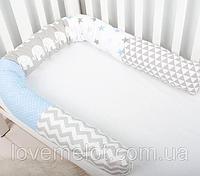 Подушка многофункциональная для сна и кормления, для беременных и деток в серо-бело-голубой гамме