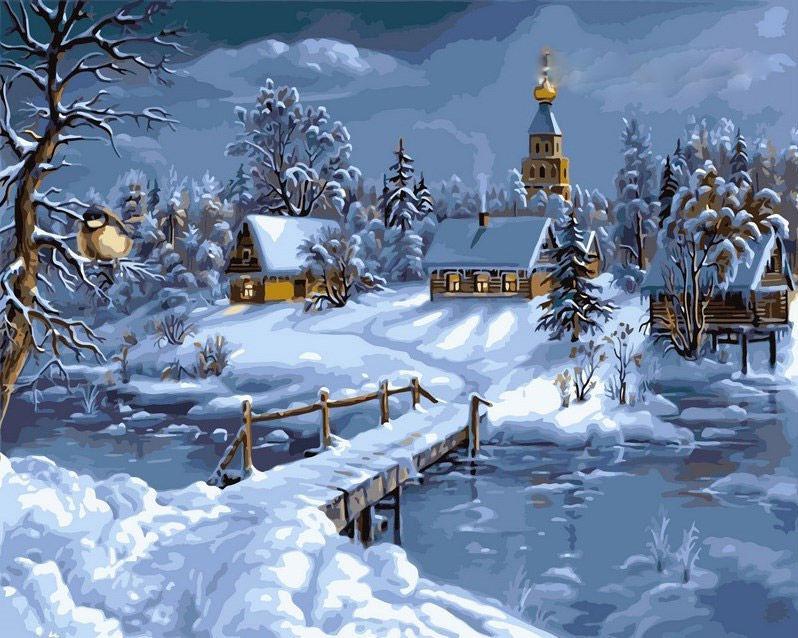 Картина раскраска по номерам на холсте 40*50см Babylon VP169 Зимняя сказка