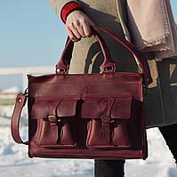 Жіноча шкіряна сумка ручної роботи EveryDay Marsala, Sharky Friends, фото 1