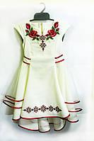 Нарядное детское платье Мальвина украшено вышивкой крестиком