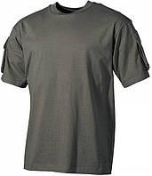 Тактическая футболка спецназа США, тёмно-зелёная, с карманами на рукавах, х/б MFH 00121B