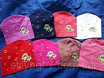 Шапка трикотажная для девочки 2-6 лет красного,розового,синего цвета совушка оптом