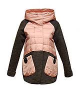 Куртка Zilanliya женская демисезонная с текстилем серо-розовая