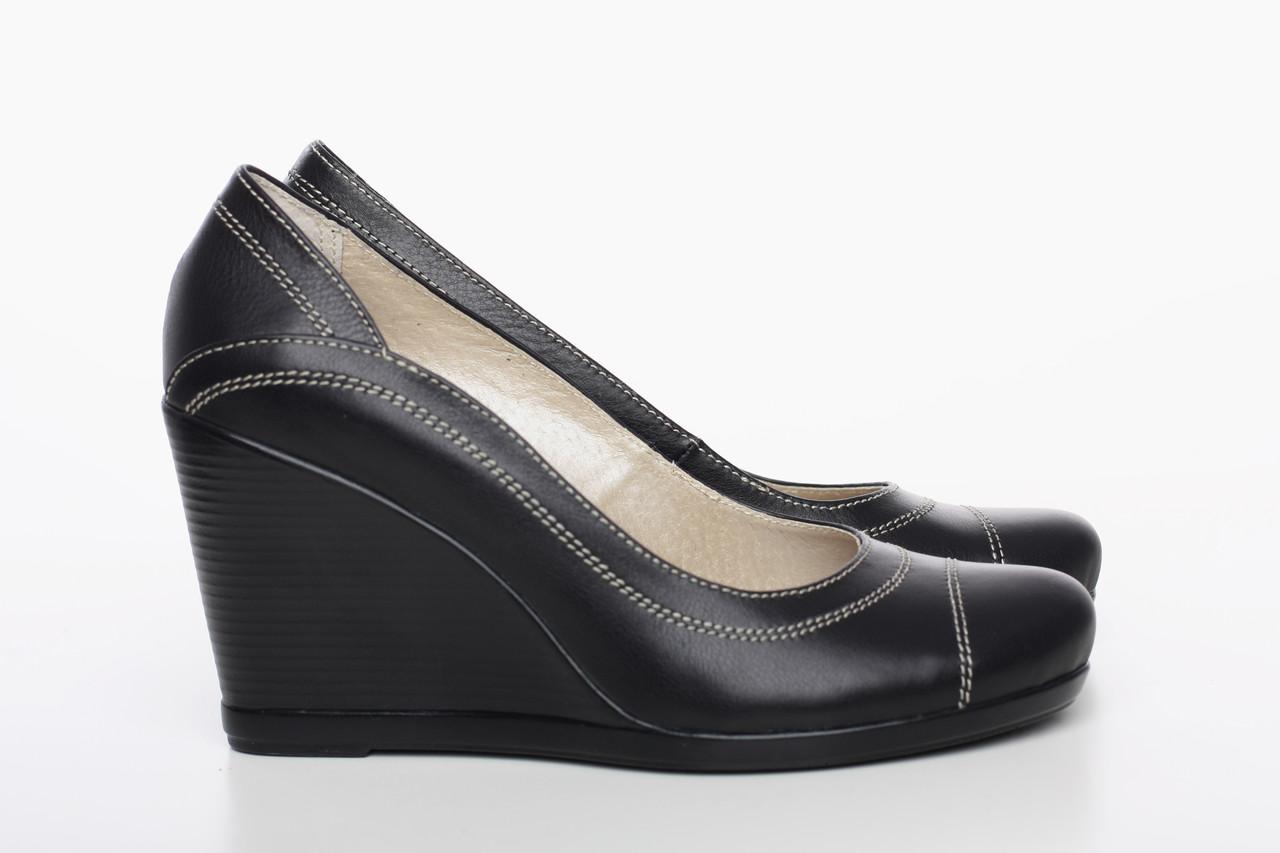 25 см Туфли женские кожаные черные на танкетке, из натуральной кожи, натуральная  кожа 2cfc76a1fee