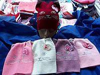 Шапка для девочки легка вязка 48-50 размер с ушками киси оптом