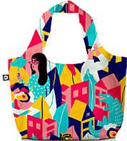 Разноцветная, женская, дворучная сумка из текстиля BG Berlin, ECO BAG/Looking Around (50x65см), Bg001-01-102