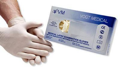 Перчатки медицинские смотровые латексные  без пудры нестерильные, р-p М премиум клас VM