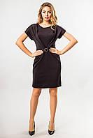 Элегантное женское черное платье с пряжкой и драпировкой, короткий рукав