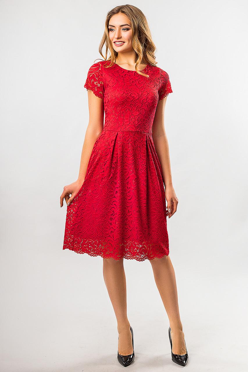 6ae11f9907c Вечернее женское красное кружевное платье до колен с коротким рукавом -