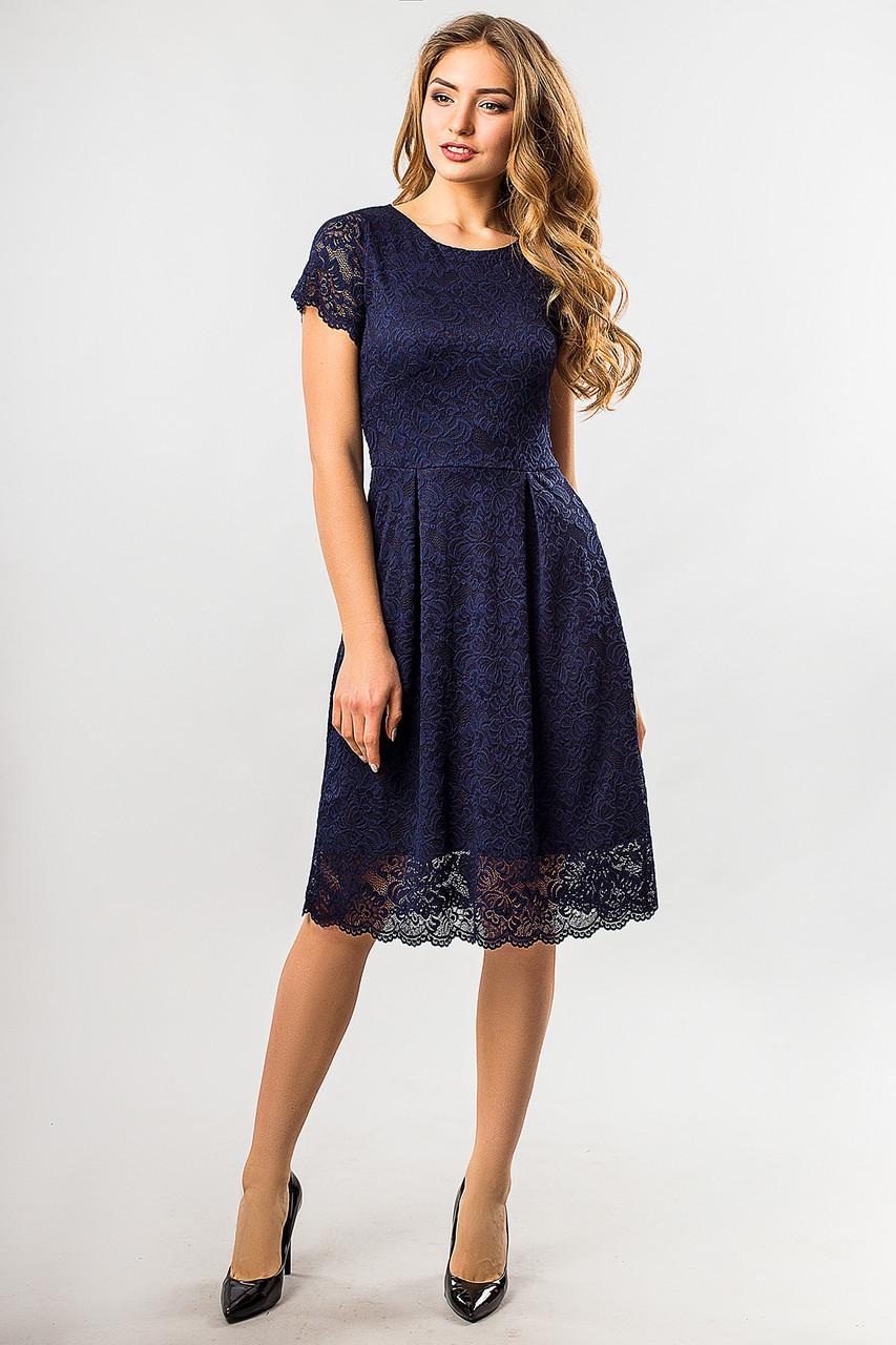 735e07cc483 Вечернее женское темно-синее кружевное платье до колен с коротким рукавом -