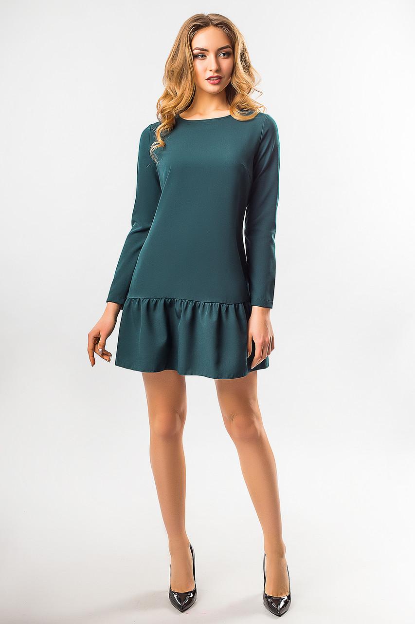 e1d7b3ec3bf Свободное женское платье-трапеция с длинным рукавом и оборками внизу ...