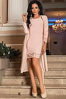 Нежное  платье с перфорацией и шифоновым кардиганом