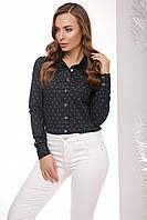 Стильная женская хлопковая рубашка с длинным рукавом принт темно-синий армани