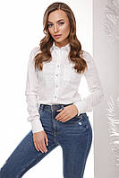 Стильная женская хлопковая рубашка с длинным рукавом принт белая корона