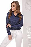 Стильная женская хлопковая рубашка с длинным рукавом принт синий армани